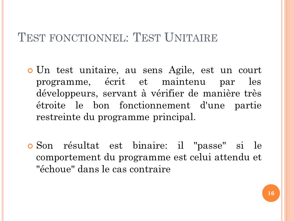 Test fonctionnel: Test Unitaire