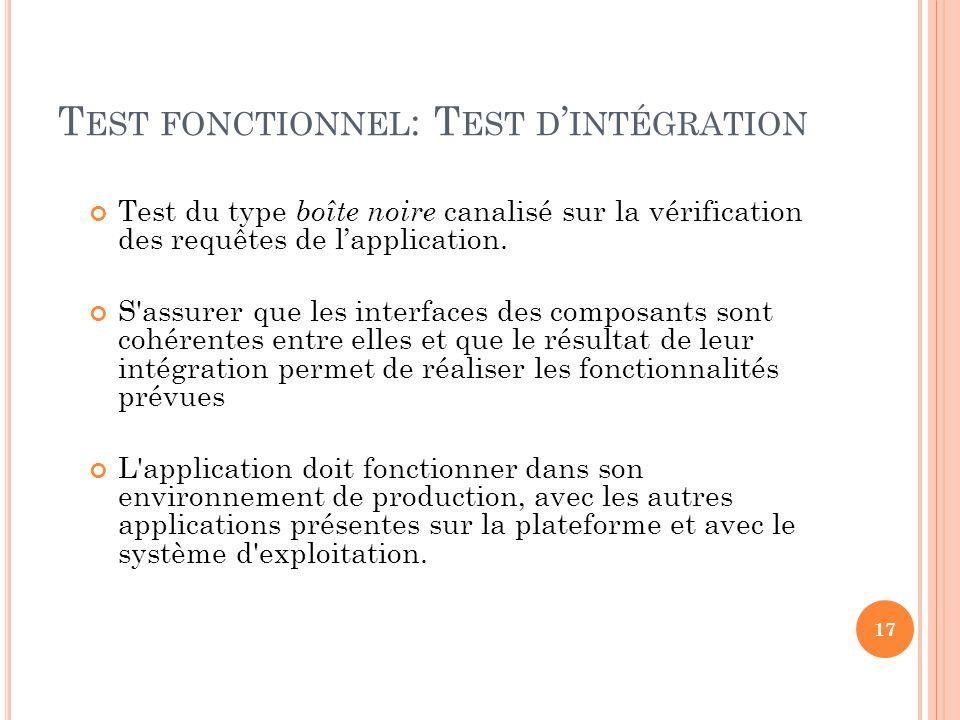 Test fonctionnel: Test d'intégration