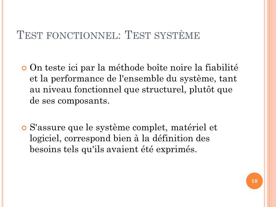 Test fonctionnel: Test système