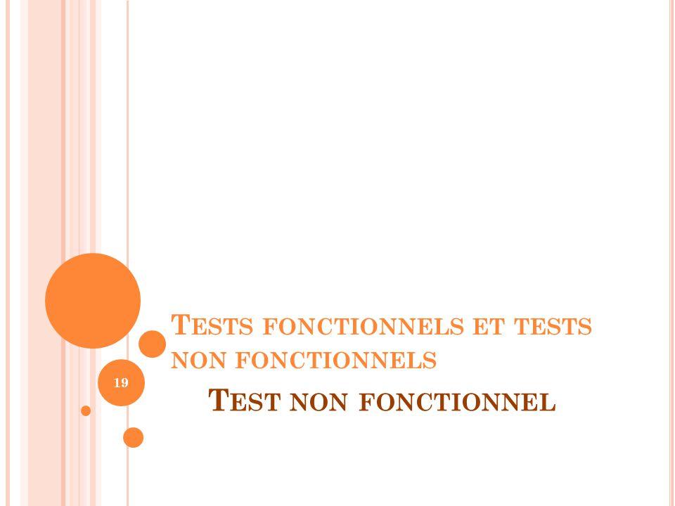 Tests fonctionnels et tests non fonctionnels
