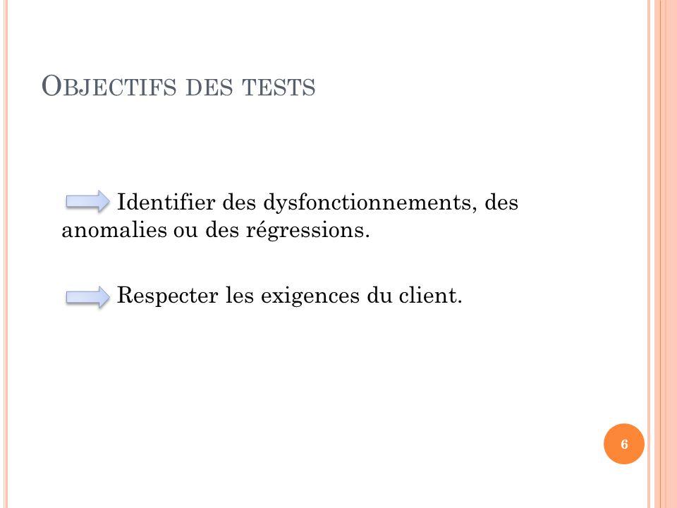 Objectifs des tests Identifier des dysfonctionnements, des anomalies ou des régressions.