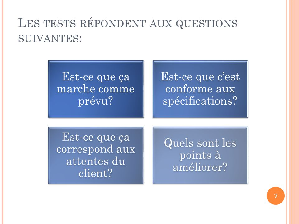 Les tests répondent aux questions suivantes:
