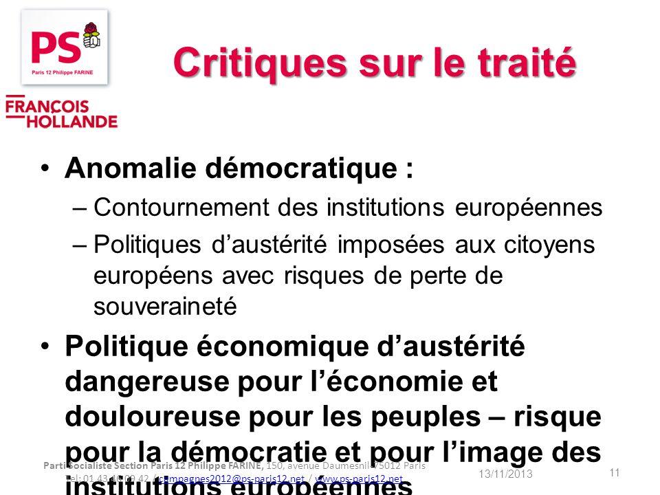 Critiques sur le traité