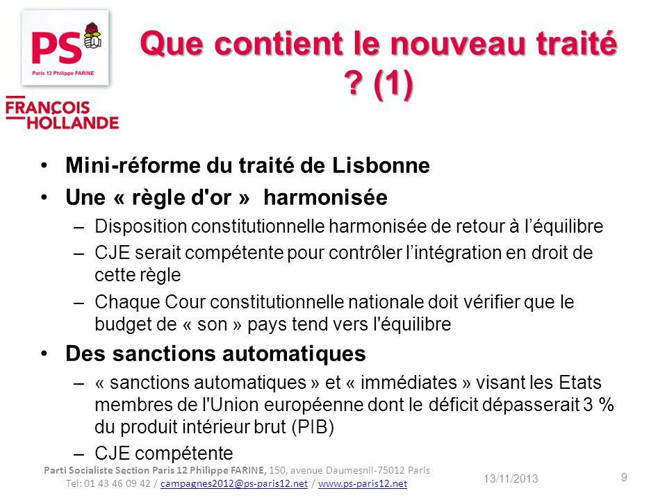 Que contient le nouveau traité (1)