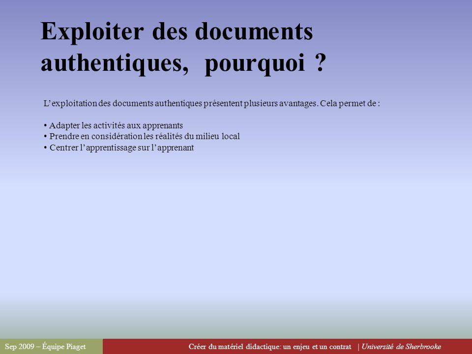 Exploiter des documents authentiques, pourquoi