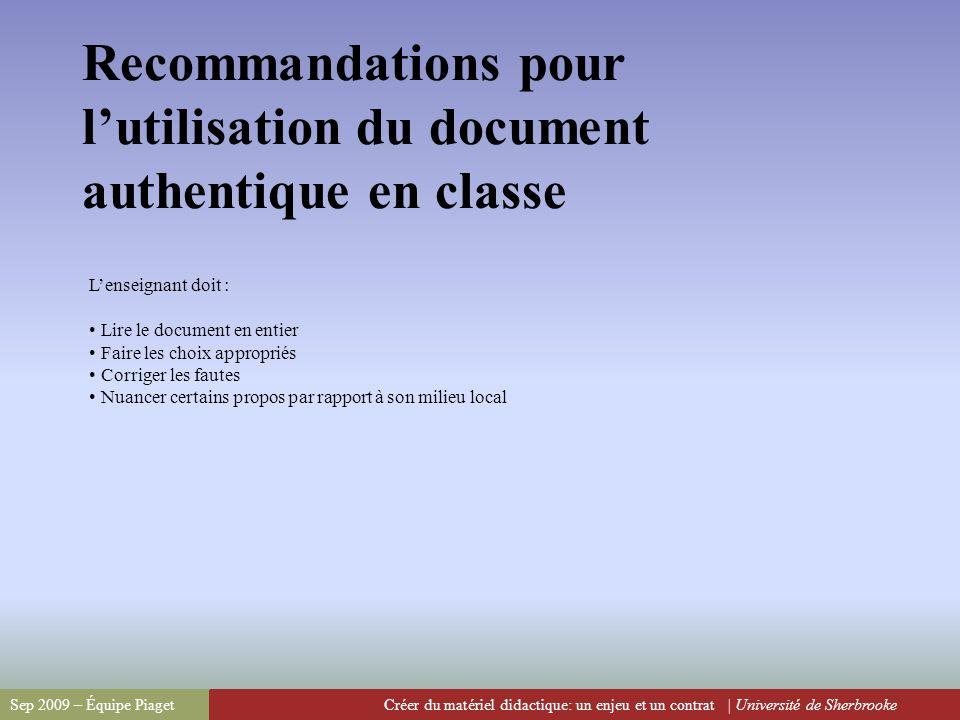 Recommandations pour l'utilisation du document authentique en classe