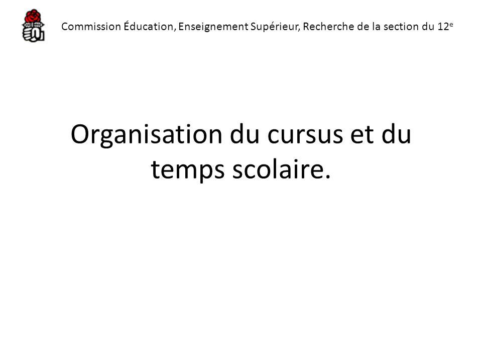 Organisation du cursus et du temps scolaire.