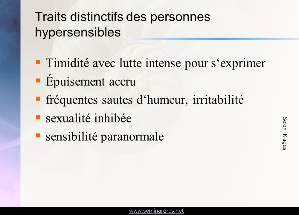 Traits distinctifs des personnes hypersensibles