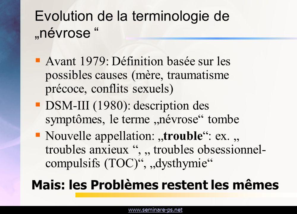 """Evolution de la terminologie de """"névrose"""