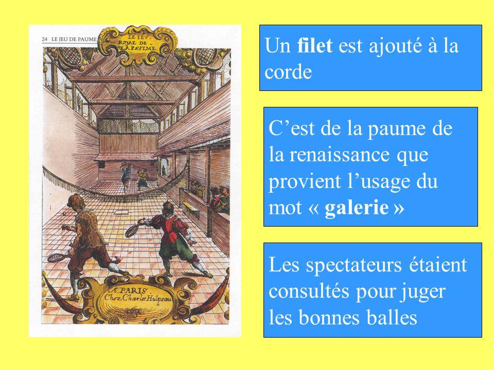 Un filet est ajouté à la corde. C'est de la paume de. la renaissance que. provient l'usage du. mot « galerie »