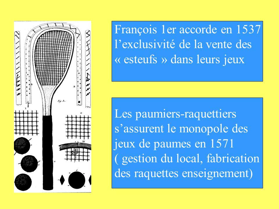 François 1er accorde en 1537 l'exclusivité de la vente des. « esteufs » dans leurs jeux. Les paumiers-raquettiers.