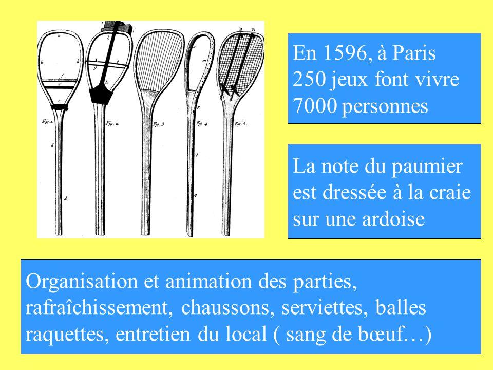 En 1596, à Paris 250 jeux font vivre. 7000 personnes. La note du paumier. est dressée à la craie.