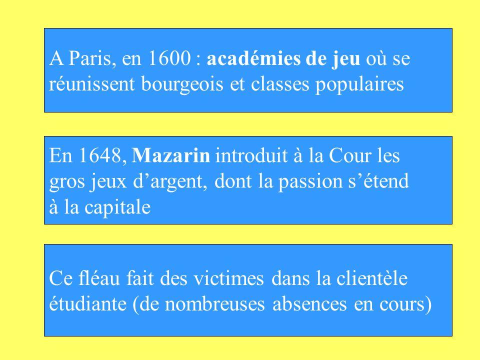A Paris, en 1600 : académies de jeu où se