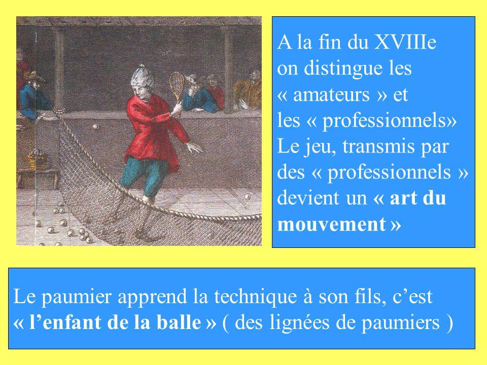 A la fin du XVIIIe on distingue les. « amateurs » et. les « professionnels» Le jeu, transmis par.
