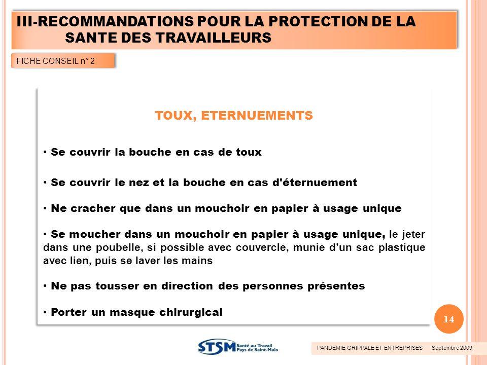 III-RECOMMANDATIONS POUR LA PROTECTION DE LA SANTE DES TRAVAILLEURS