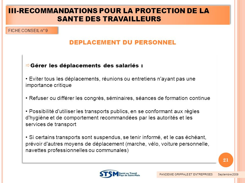 DEPLACEMENT DU PERSONNEL