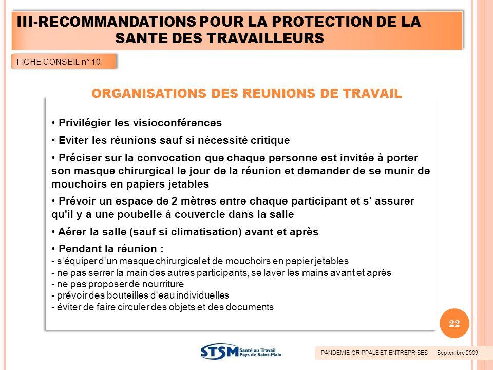 ORGANISATIONS DES REUNIONS DE TRAVAIL