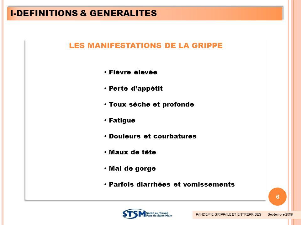 LES MANIFESTATIONS DE LA GRIPPE