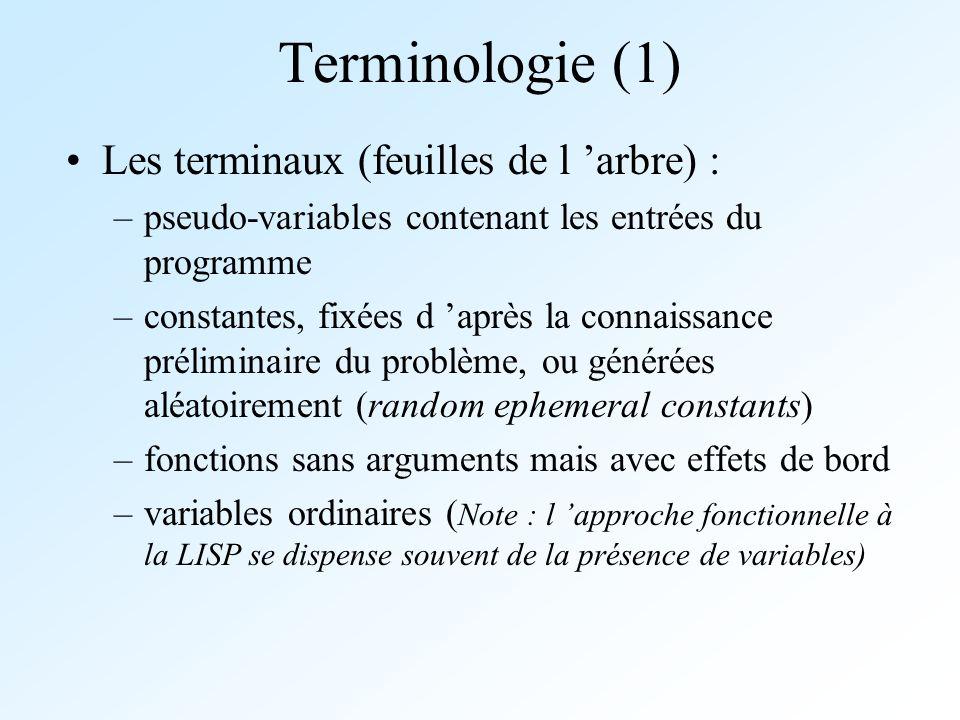 Terminologie (1) Les terminaux (feuilles de l 'arbre) :