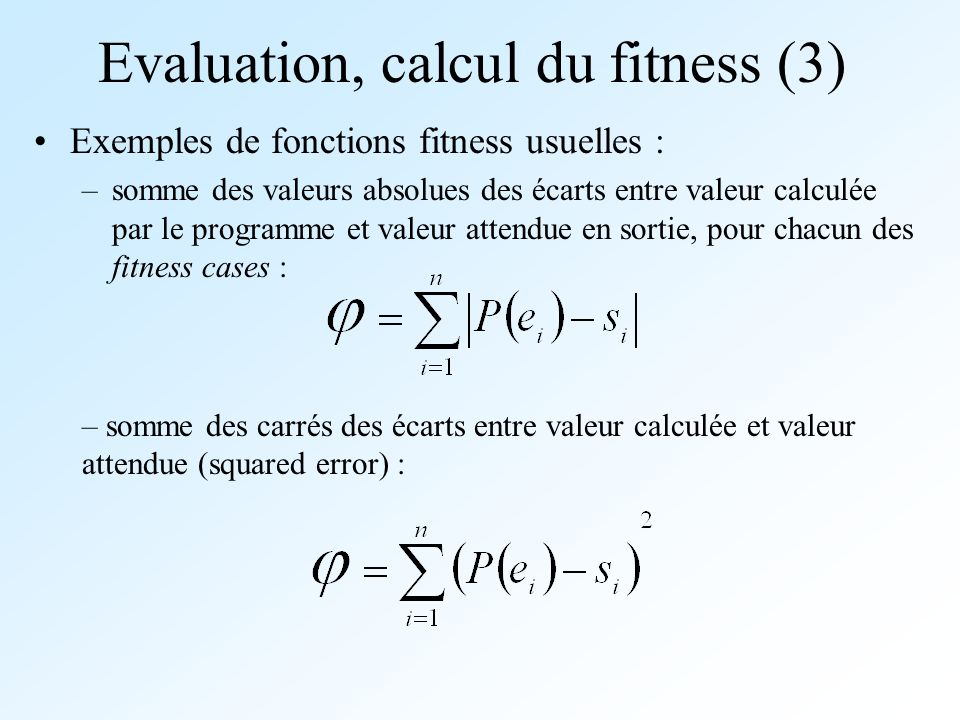 Evaluation, calcul du fitness (3)