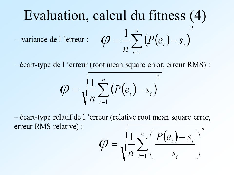 Evaluation, calcul du fitness (4)