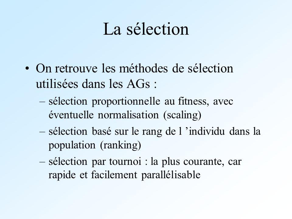 La sélection On retrouve les méthodes de sélection utilisées dans les AGs :