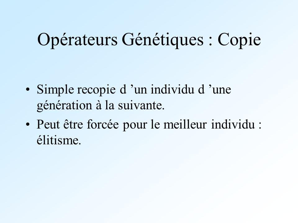 Opérateurs Génétiques : Copie