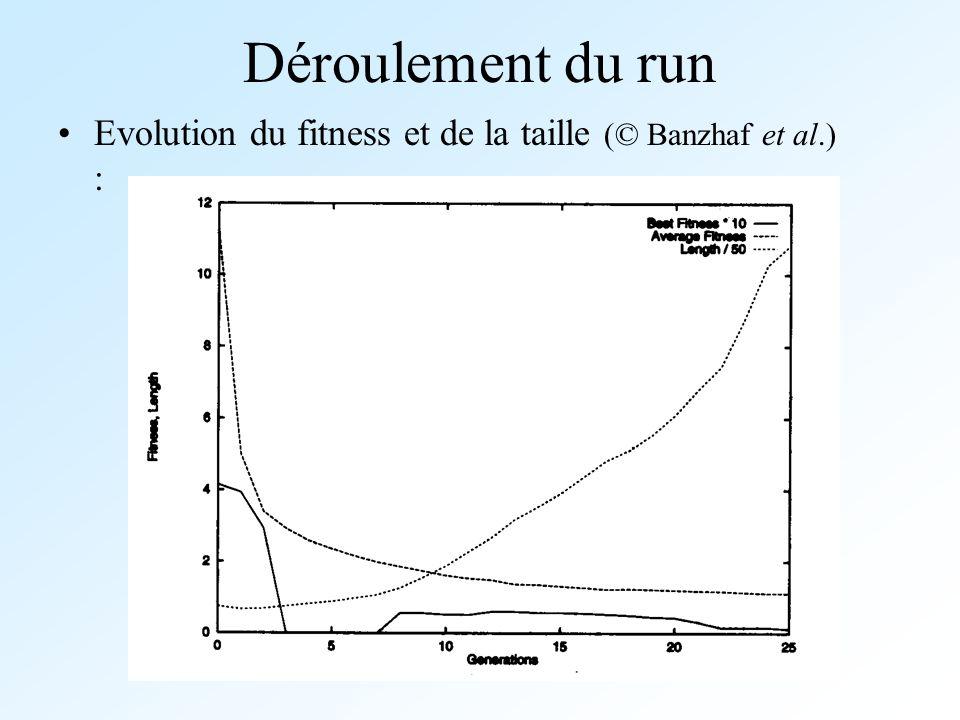 Déroulement du run Evolution du fitness et de la taille (© Banzhaf et al.) :
