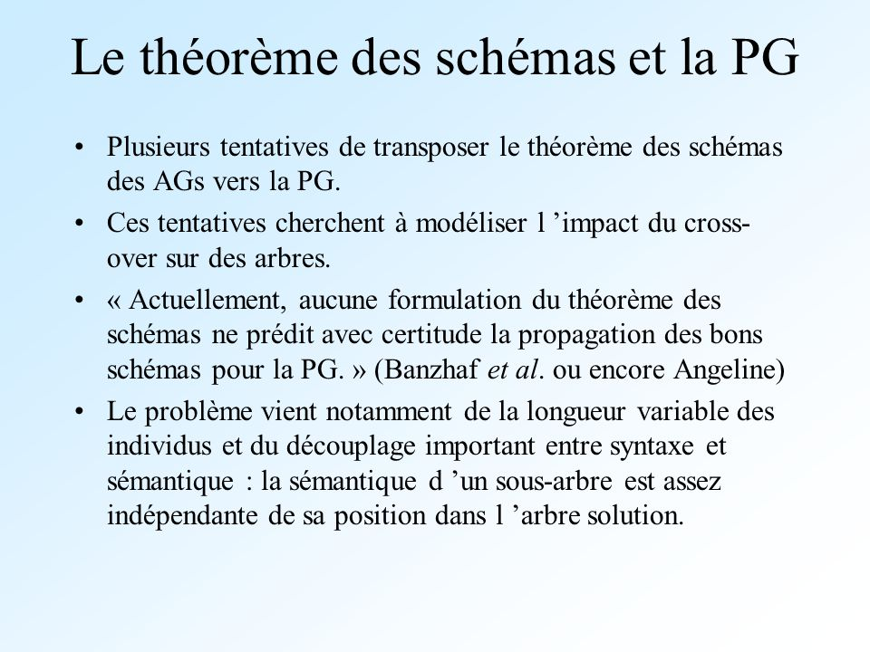 Le théorème des schémas et la PG