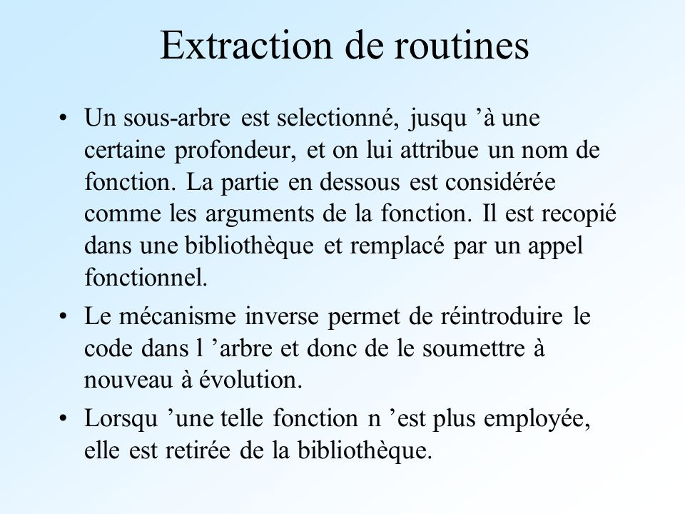 Extraction de routines