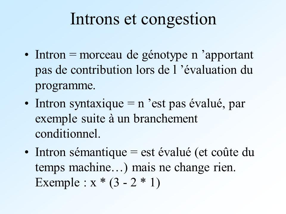 Introns et congestion Intron = morceau de génotype n 'apportant pas de contribution lors de l 'évaluation du programme.