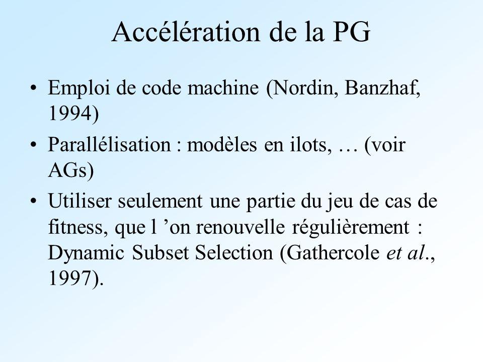 Accélération de la PG Emploi de code machine (Nordin, Banzhaf, 1994)