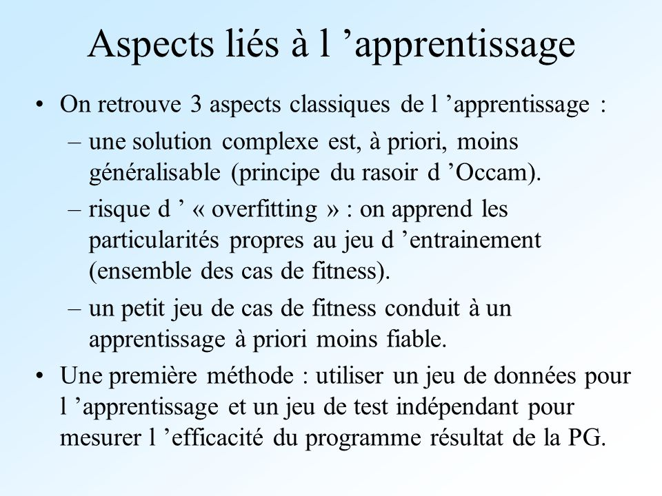 Aspects liés à l 'apprentissage