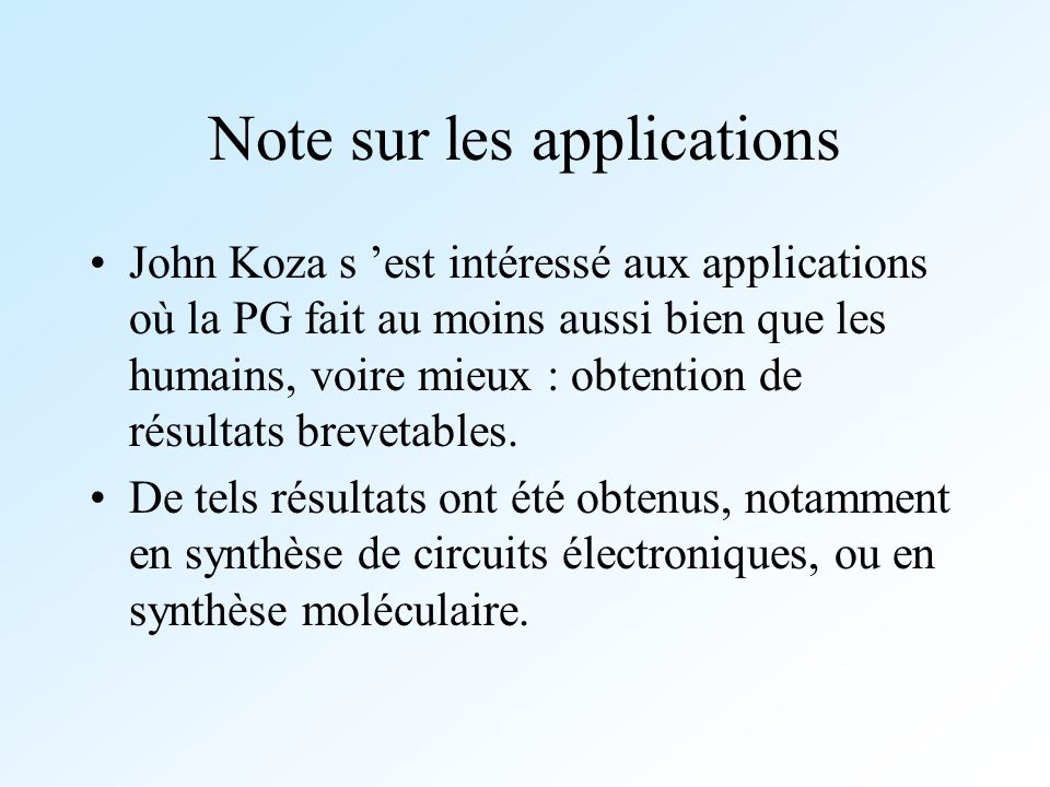 Note sur les applications