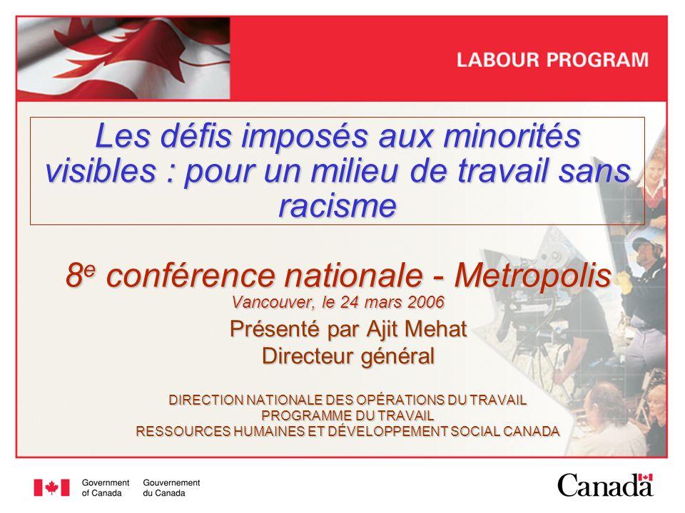Les défis imposés aux minorités visibles : pour un milieu de travail sans racisme 8e conférence nationale - Metropolis Vancouver, le 24 mars 2006