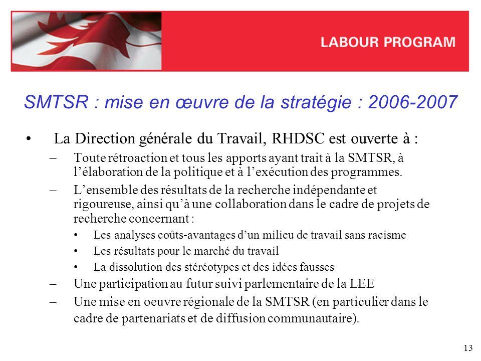 SMTSR : mise en œuvre de la stratégie : 2006-2007