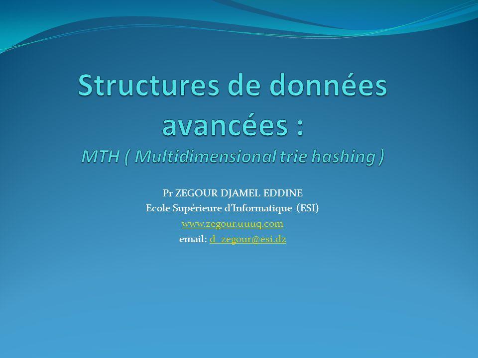 Structures de données avancées : MTH ( Multidimensional trie hashing )