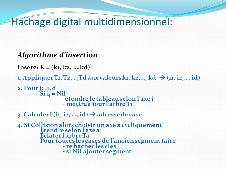 Hachage digital multidimensionnel: