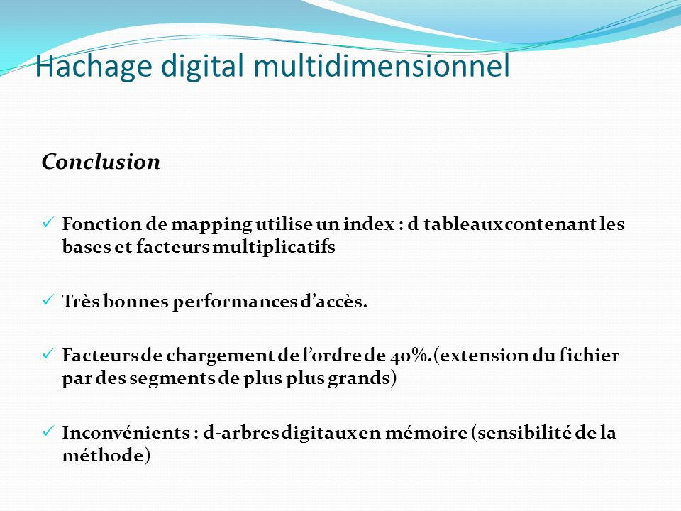 Hachage digital multidimensionnel
