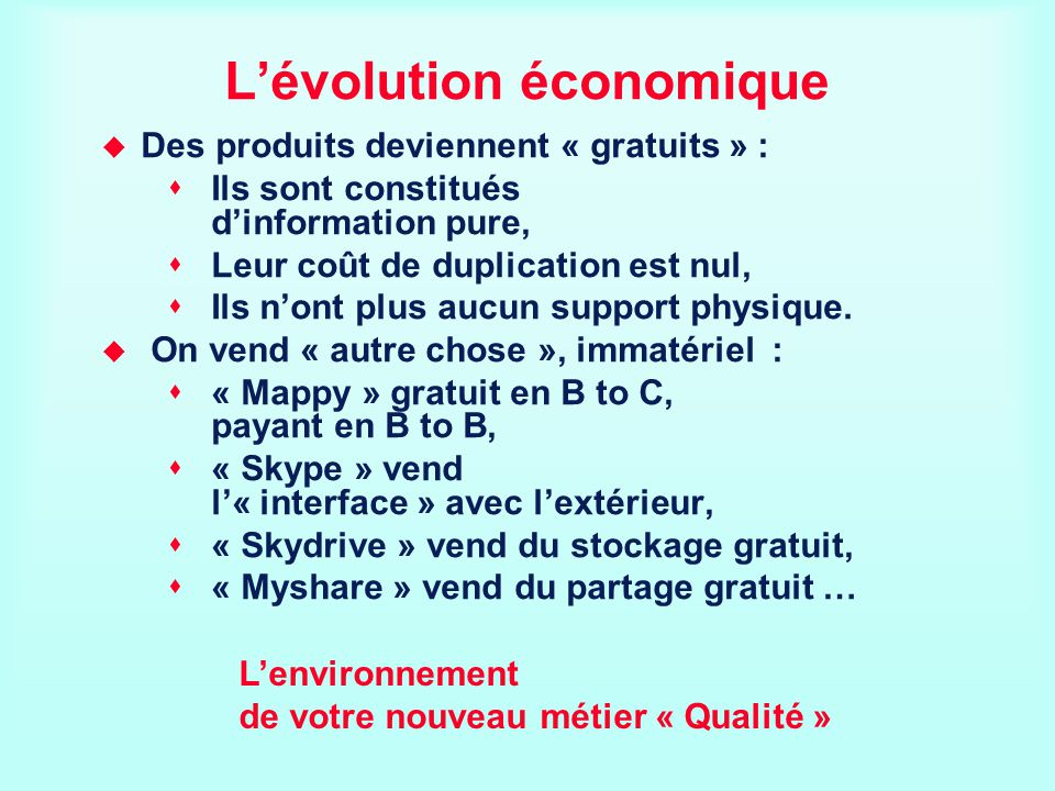 L'évolution économique
