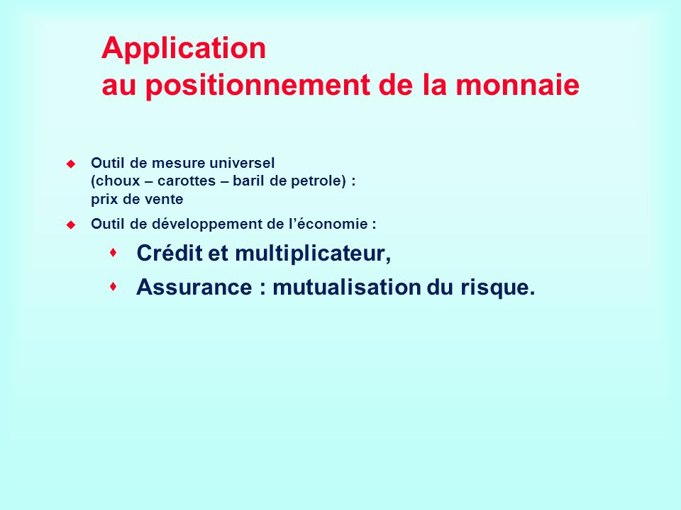 Application au positionnement de la monnaie