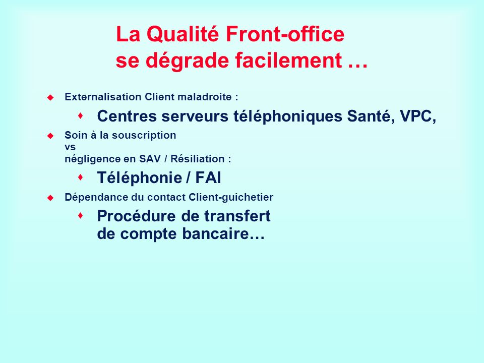 La Qualité Front-office se dégrade facilement …