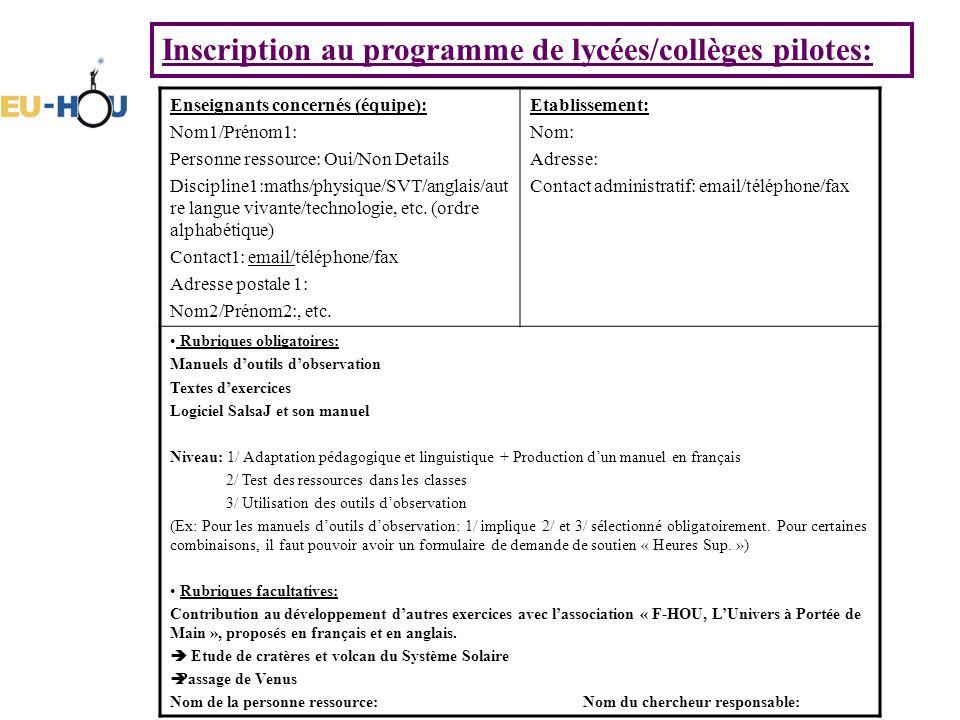 Inscription au programme de lycées/collèges pilotes: