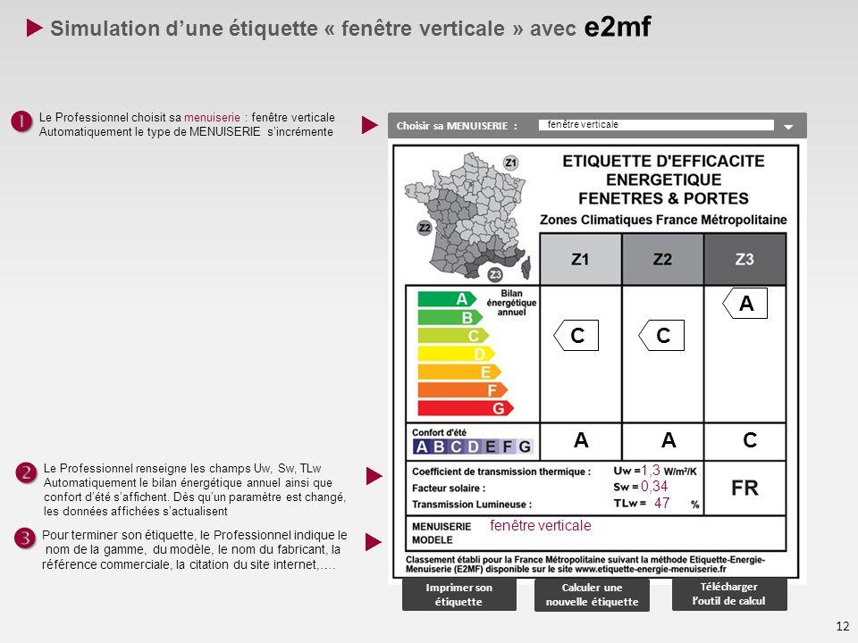     Simulation d'une étiquette « fenêtre verticale » avec e2mf  C