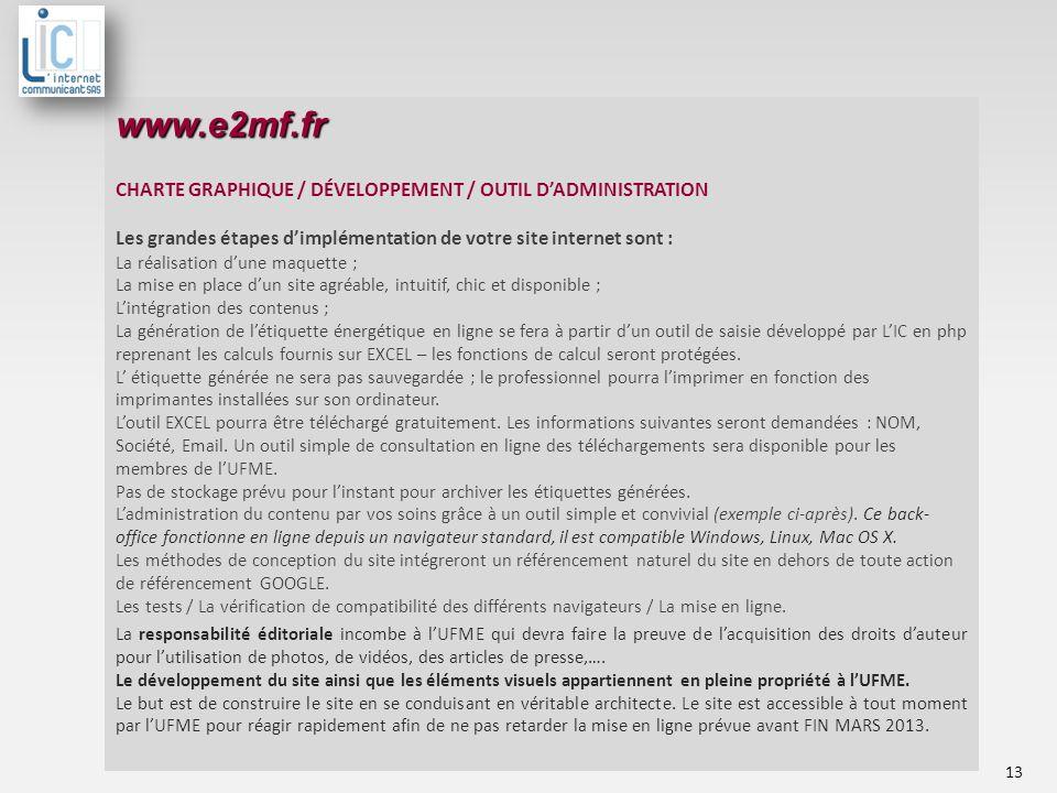 www.e2mf.fr CHARTE GRAPHIQUE / DÉVELOPPEMENT / OUTIL D'ADMINISTRATION