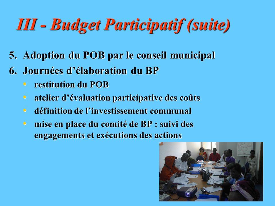 III - Budget Participatif (suite)
