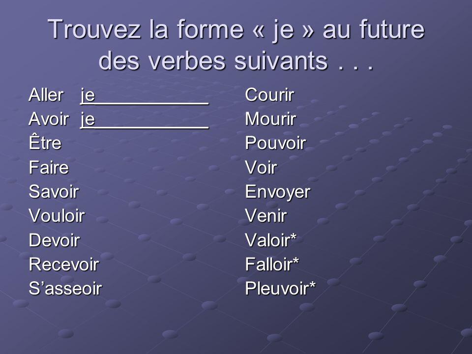 Trouvez la forme « je » au future des verbes suivants . . .