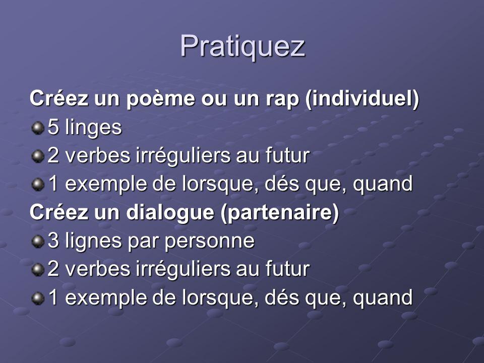 Pratiquez Créez un poème ou un rap (individuel) 5 linges