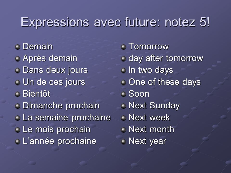 Expressions avec future: notez 5!