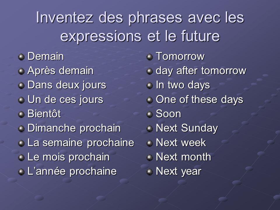 Inventez des phrases avec les expressions et le future